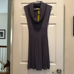 Catherine Malandrino mauve cowl neck knit dress